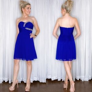 Blue Fit Flair Homecoming Dress